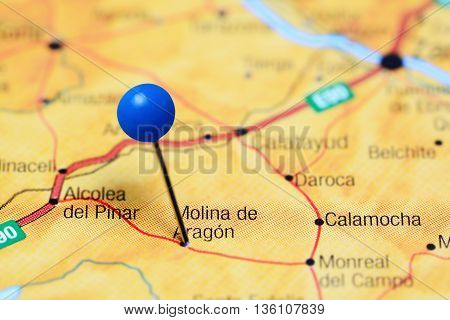 Molina de Aragon pinned on a map of Spain