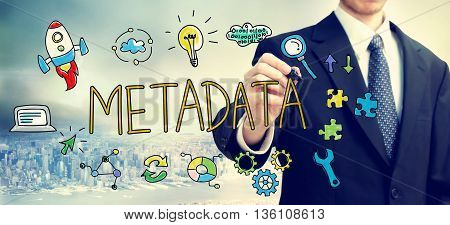 Businessman Drawing Metadata Concept
