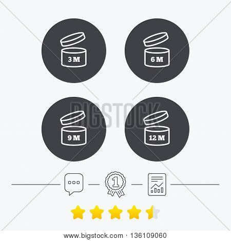 After opening use icons. Expiration date 6-12 months of product signs symbols. Shelf life of grocery item. Chat, award medal and report linear icons. Star vote ranking. Vector