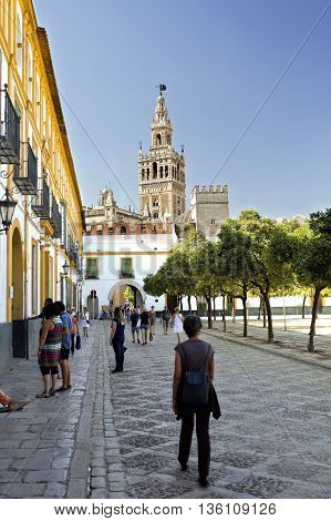SEVILLE, SPAIN - September 13, 2015: View of The Giralda the bell tower of the Seville Cathedral on September 13, 2015 in Seville, Spain