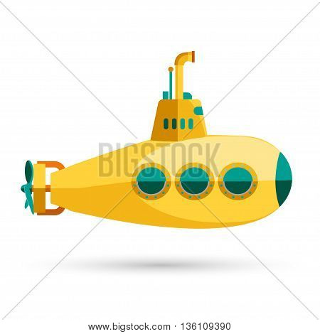 Yellow Submarine with periscope, underwater boat Flat design