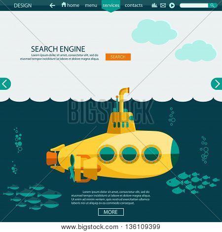 Submarine undersea Flat design. SEO website template, searching engine optimization.