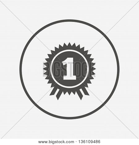 First place award sign icon. Prize for winner. Flat winner icon. Simple design winner symbol. Winner graphic element. Round button with flat winner icon. Vector