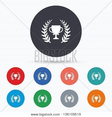 First place cup award icon. Prize for winner. Flat prize icon. Simple design prize symbol. Prize graphic element. Circle buttons with prize icon. Vector