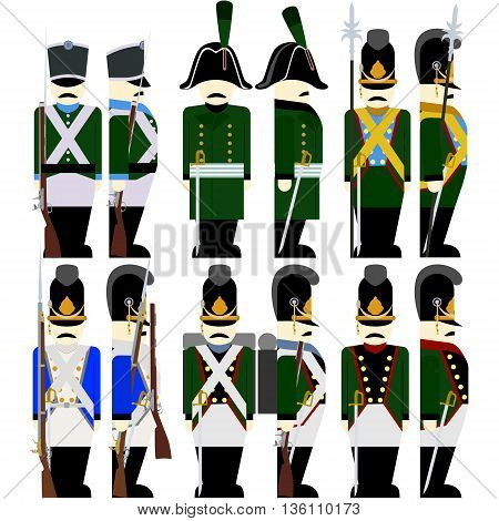 Soldiers of the Bavarian army in uniform and weapons were used in the 1812 war. The illustration on a white background.????? ????.