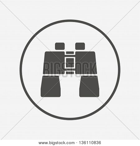 Binocular sign icon. Search symbol. Flat binocular icon. Simple design binocular symbol. Binocular graphic element. Round button with flat binocular icon. Vector