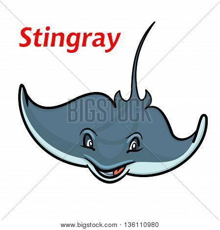 Swimming cartoon deepwater stingray fish character friendly smiling and waving curved elongated fins. Childish stylized marine animal for mascot or t-shirt print design usage