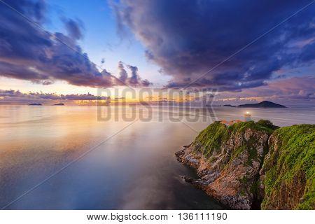 Hong Kong lighthouse during sunrise , Hok Tsui Cape D'Aguilar beautiful landscape