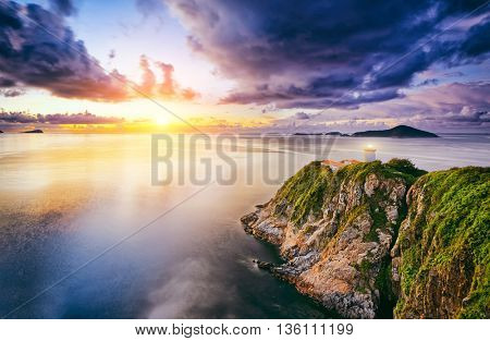 Hong Kong lighthouse during sunrise , Hok Tsui Cape D'Aguilar beautiful landscape