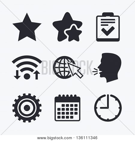 Star favorite and globe with mouse cursor icons. Checklist and cogwheel gear sign symbols. Wifi internet, favorite stars, calendar and clock. Talking head. Vector