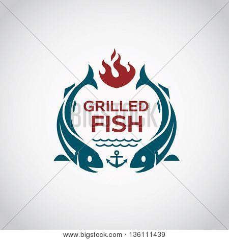 fish barbecue and grill icon graphic design