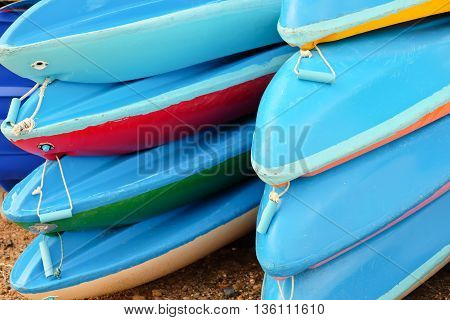 close up image of Colorful kayaks background