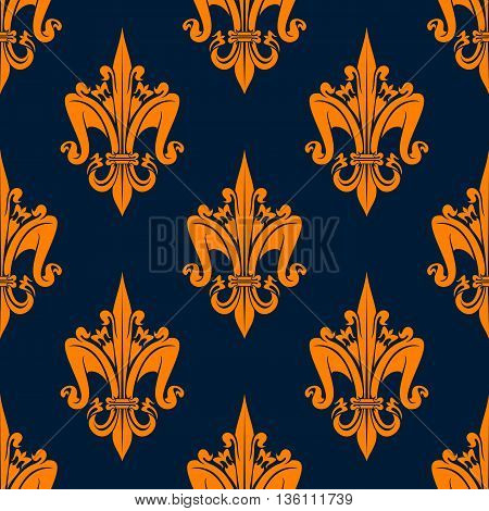 Victorian seamless floral heraldic pattern of orange medieval fleur-de-lis with decorative leaves scrolls and flowers on dark blue background. May be use as fabric print or heraldry theme design