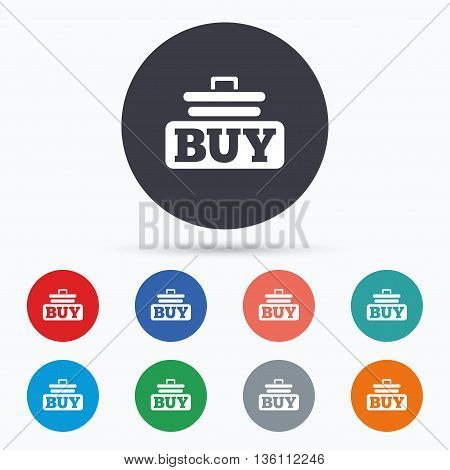 Buy sign icon. Online buying cart button. Flat buy icon. Simple design buy symbol. Buy graphic element. Circle buttons with buy icon. Vector