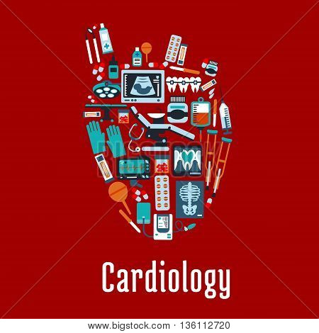 Cardiology health care symbol of heart silhouette with pills and syringes, medicine bottles and stethoscope, operation table and blood bag, ecg and blood pressure monitors, x ray and ultrasound scans, dentist equipments and instruments. Flat style