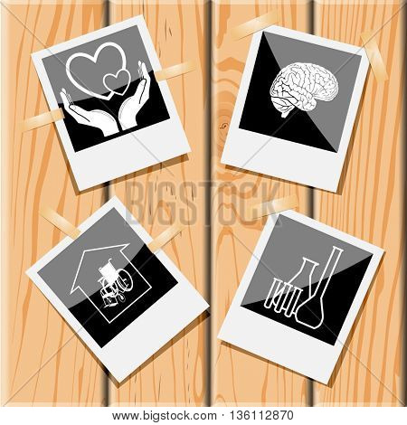 4 images: love in hands, brain, chemical test tubes, nursing home. Medical set. Photo frames on wooden desk. Vector icons.