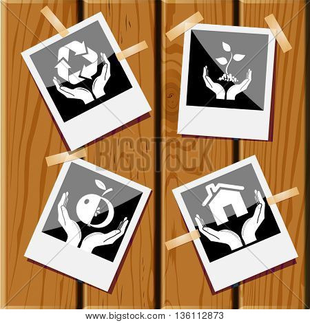 4 images: home in hands, plant, apple, protection nature. In hands set. Photo frames on wooden desk. Vector icons.
