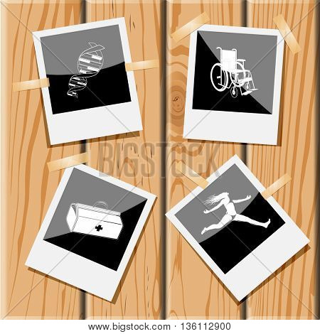 4 images: dna, invalid chair, medical suitcase, jumping girl. Medical set. Photo frames on wooden desk. Vector icons.