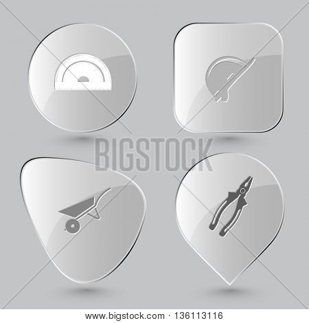 4 images: protractor, hard hat, wheelbarrow, pliers. Industrial tools set. Glass buttons on gray background. Vector icons.
