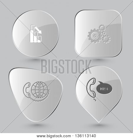 4 images: graph degress, gears, global communication, support. Business set. Glass buttons on gray background. Vector icons.