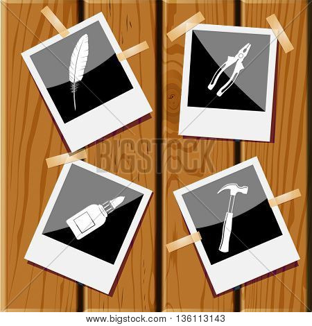 4 images: hammer, pliers, glue bottle, feather. Angularly set. Photo frames on wooden desk. Vector icons.