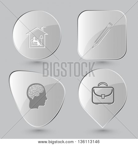 4 images: home reading, pencil, human brain, briefcase. Education set. Glass buttons on gray background. Vector icons.