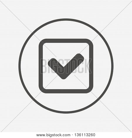 Check mark sign icon. Yes square symbol. Flat check icon. Simple design check symbol. Check graphic element. Round button with flat check icon. Vector