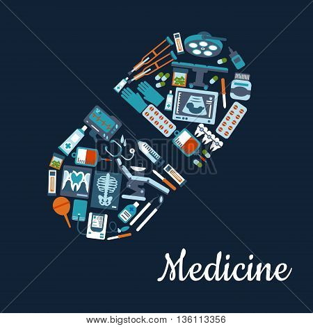 Silhouette of a pill composed of medical services and pharmaceutical flat icons such as stethoscope, medicine bottles and blood bags, pills and syringe, operating room equipments and dentist tools, xray images and ultrasound baby scan, crutches and enema