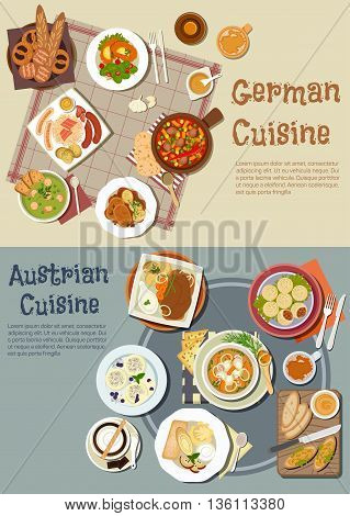 Hearty german and austrian dinners with desserts and drinks symbol of grilled sausages and sandwiches, pork stew and goulash, pea soup and pot roast, meat and plum dumplings, bavarian bread, pretzels and beer, viennese chocolate, coffee and ice cream