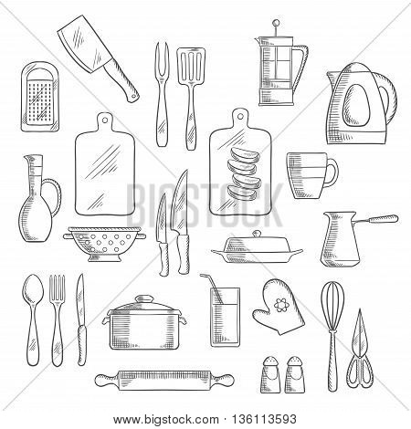 Kitchen utensils and appliances sketch icons of tea and coffee pots, knives, forks and spoon, cup, glass and jug, spatula and cutting boards, grater and rolling pin, electric kettle and pot, whisk, scissors and colander, salt and pepper shakers