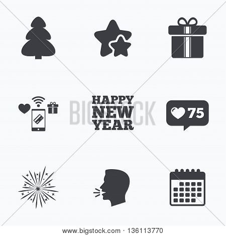 Happy new year icon. Christmas tree and gift box signs. Fireworks explosive symbol. Flat talking head, calendar icons. Stars, like counter icons. Vector