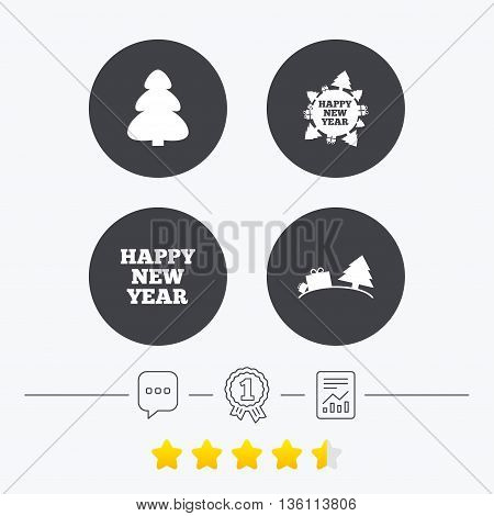 Happy new year icon. Christmas trees signs. World globe symbol. Chat, award medal and report linear icons. Star vote ranking. Vector
