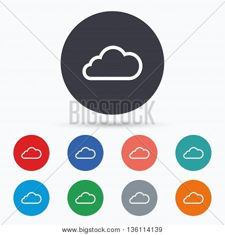 Cloud sign icon. Data storage symbol. Flat cloud icon. Simple design cloud symbol. Cloud graphic element. Circle buttons with cloud icon. Vector