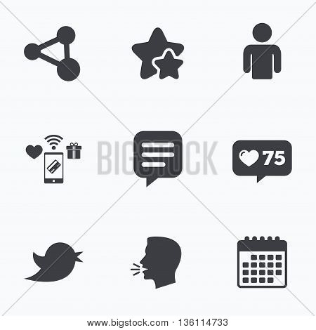Human person and share icons. Speech bubble symbols. Communication signs. Flat talking head, calendar icons. Stars, like counter icons. Vector