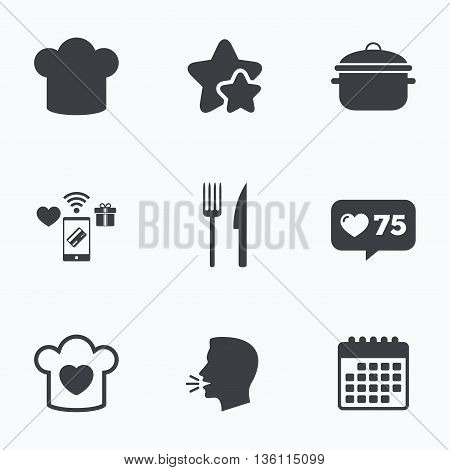 Chief hat and cooking pan icons. Fork and knife signs. Boil or stew food symbols. Flat talking head, calendar icons. Stars, like counter icons. Vector