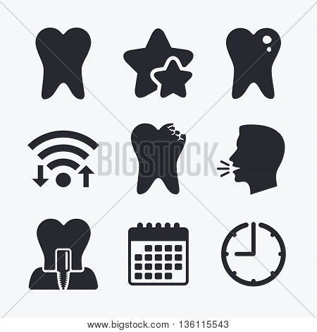 Dental care icons. Caries tooth sign. Tooth endosseous implant symbol. Wifi internet, favorite stars, calendar and clock. Talking head. Vector