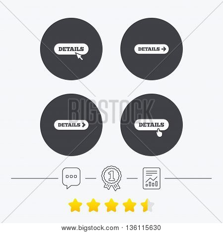 Details with arrow icon. More symbol with mouse and hand cursor pointer sign symbols. Chat, award medal and report linear icons. Star vote ranking. Vector