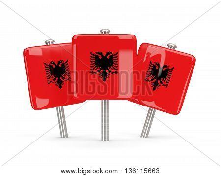 Flag Of Albania, Three Square Pins