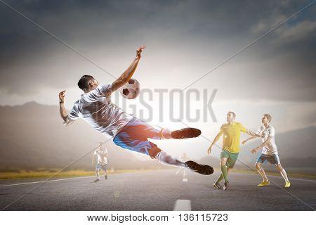 Businessman playing ball . Mixed media