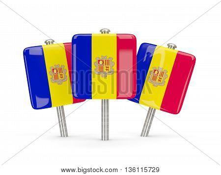 Flag Of Andorra, Three Square Pins