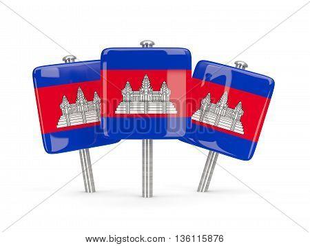 Flag Of Cambodia, Three Square Pins