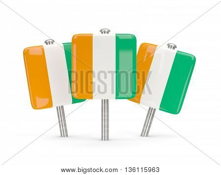 Flag Of Cote D Ivoire, Three Square Pins