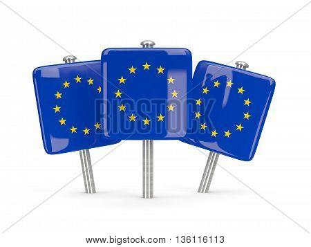 Flag Of European Union, Three Square Pins