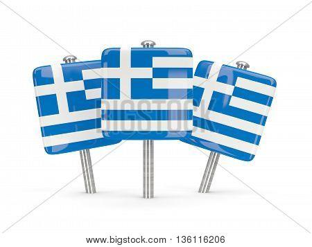 Flag Of Greece, Three Square Pins