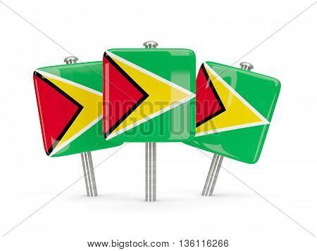 Flag Of Guyana, Three Square Pins