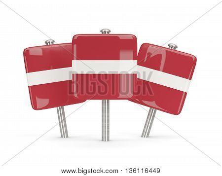 Flag Of Latvia, Three Square Pins