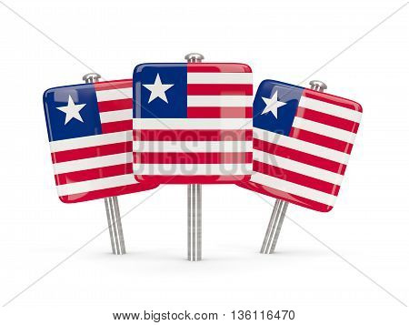 Flag Of Liberia, Three Square Pins