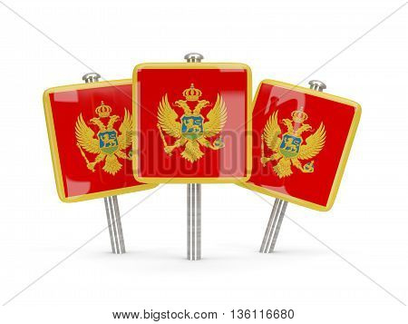 Flag Of Montenegro, Three Square Pins