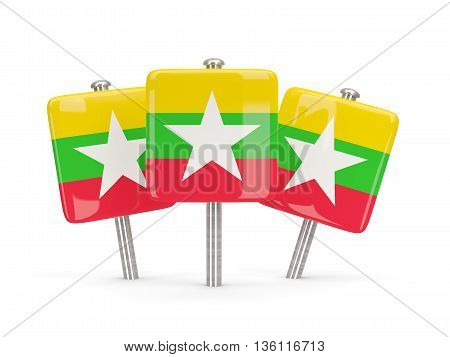 Flag Of Myanmar, Three Square Pins