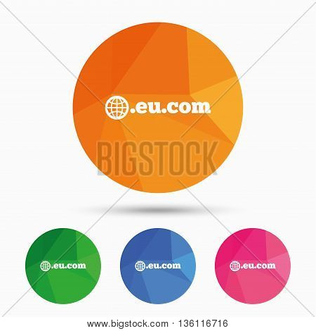 Domain EU.COM sign icon. Internet subdomain symbol with globe. Triangular low poly button with flat icon. Vector